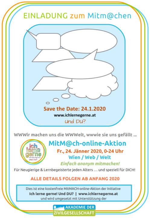 Einladung: Save the Date, 24.1.2020 - MitM@ch-online-Aktion von Ich lerne gerne! Und DU? Details folgen